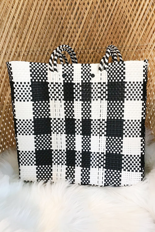 Wahako Medium Tote-Black & White Plaid #5
