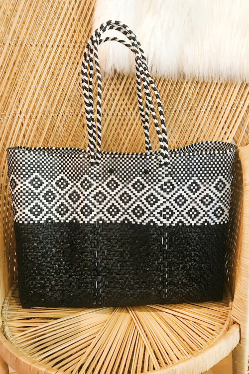 Wahako Large Black & White Tote-#14