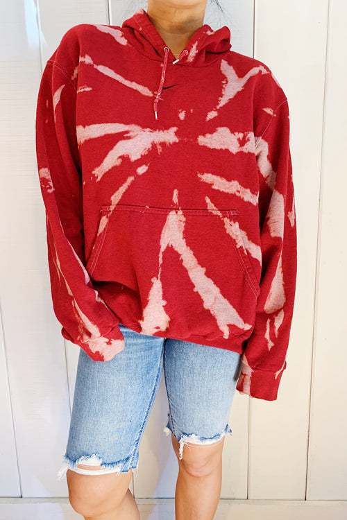 Unisex Upcycled One Of Kind Red Tie Dye Hoodie #16