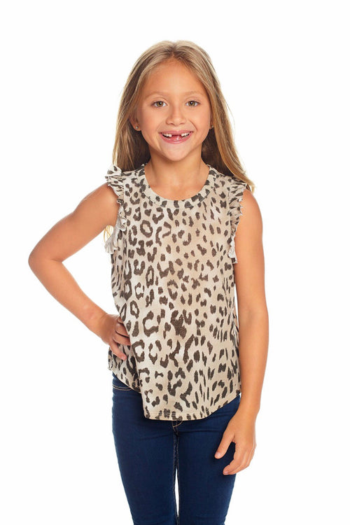Chaser Kids Vintage Jersey Ruffle Racerback Flounce Tank - Animal