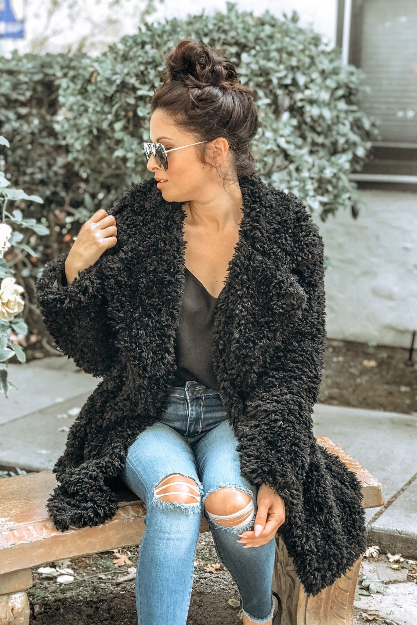 Cotton Candy Furry Jacket w/lining - Black - Ella J Boutique