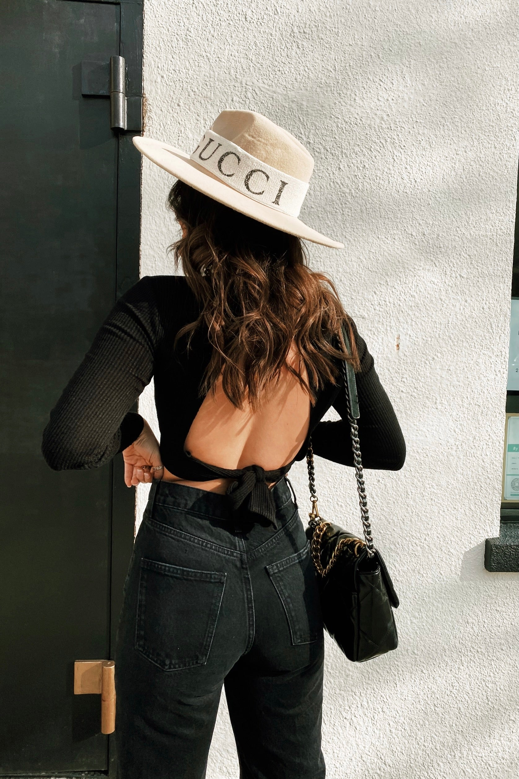 Black Long Sleeve Top with Open Back