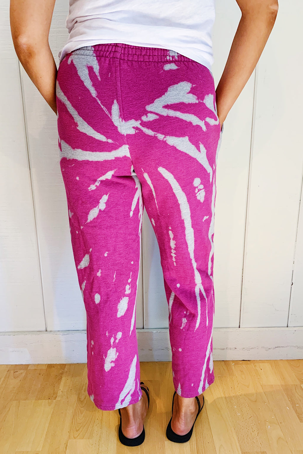 Unisex Upcycled One Of Kind Fuchsia Tie Dye Pants #22