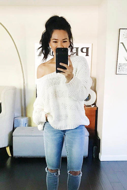 Audrey The Carly Cable Knit Sweater - Ivory