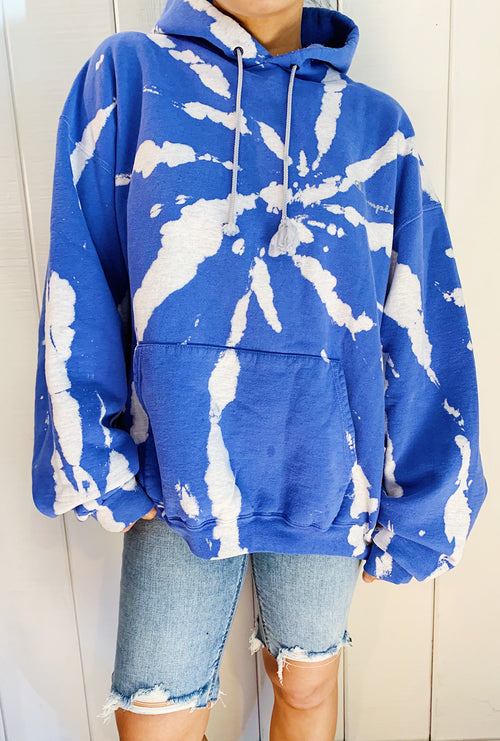 Unisex Upcycled One Of Kind Light Blue Tie Dye Hoodie #12