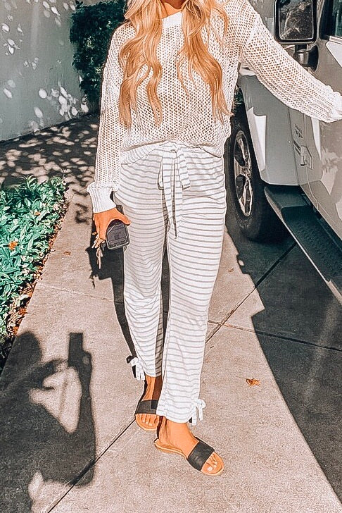 Grey Striped Pants with Stationary Waist Tie