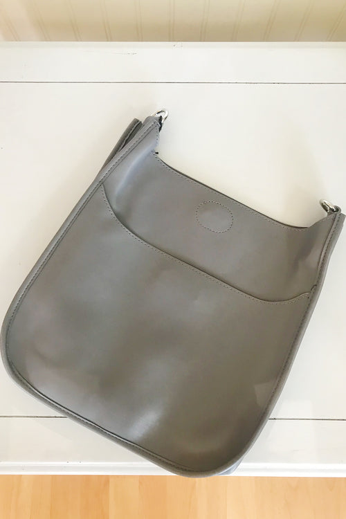 Grey Soft Faux Leather Messenger Bag - Silver Tone