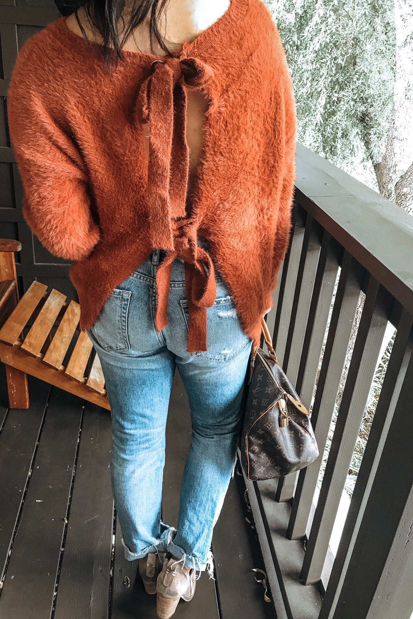 Fuzzy Tie Back Sweater Top - Rust - Ella J Boutique