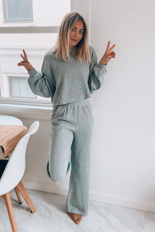 KNIT SWEAT TOP AND WIDE LEG PANTS LOUNGE SET-Heather Grey