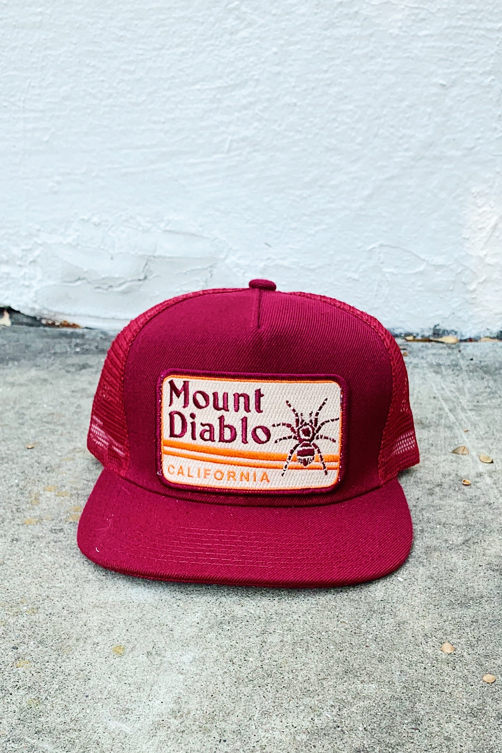 Bart Bridge Mount Diablo Unisex Trucker Hat-Burgundy