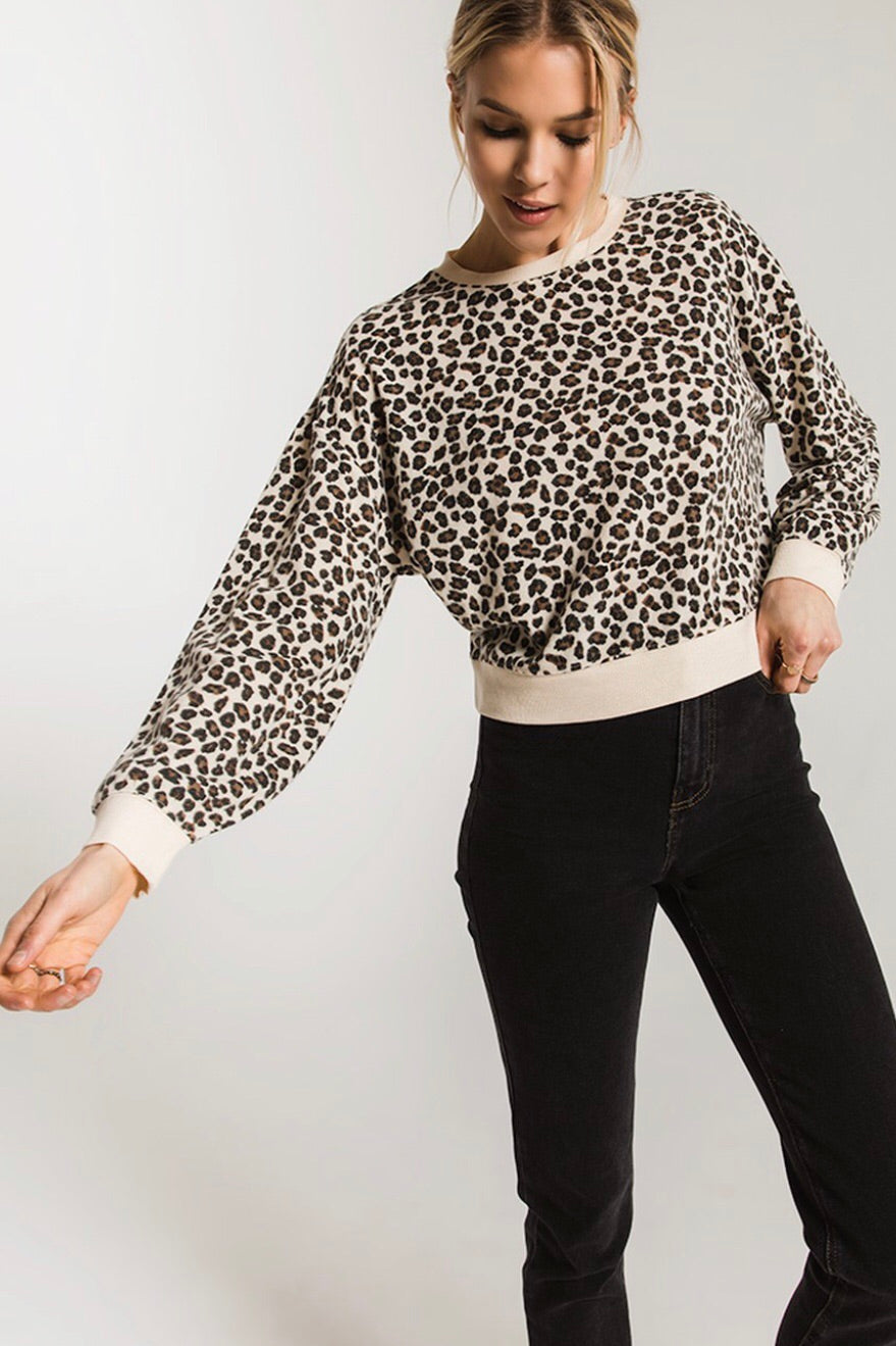 Z Supply The Brushed Leopard Pullover - Natural Combo