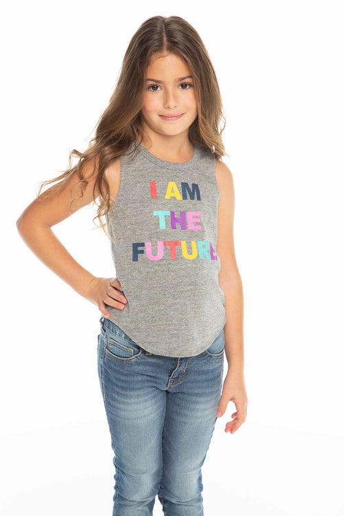 Chaser Kids I Am The Future Shirttail Muscle Tee - Streaky Grey