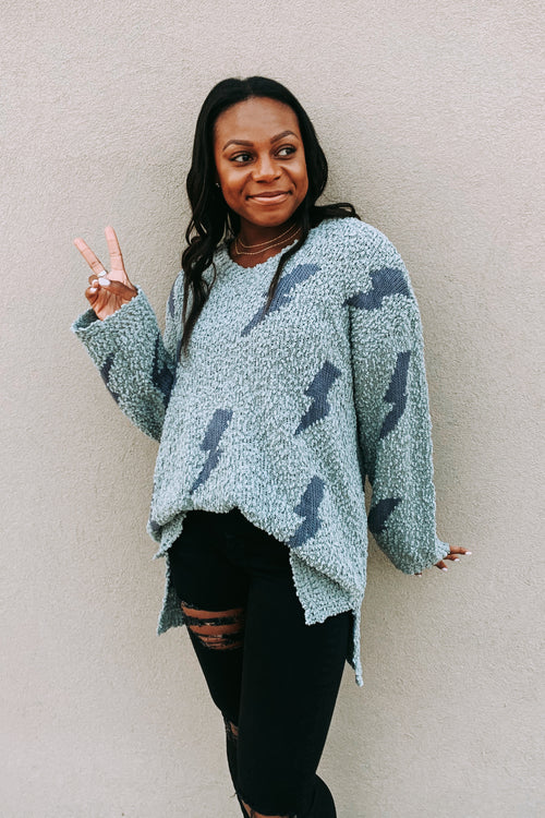 Dusty Sage Popcorn Sweater