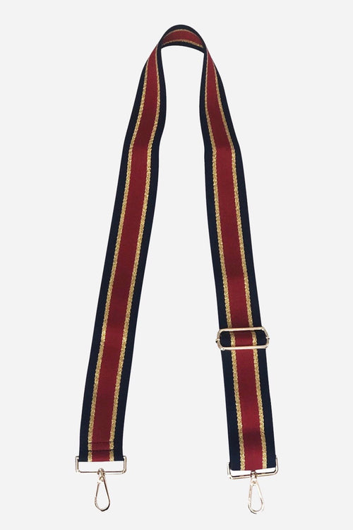 Ahdorned Black/Red/Gold Stripe Bag Strap