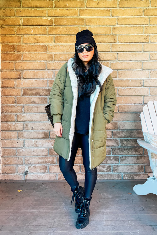 Olive Polar Hooded Coat with Sherpa Lining