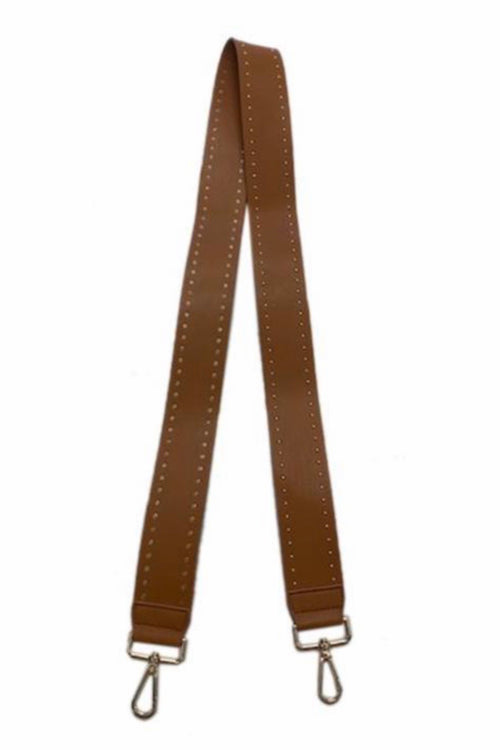Ahdorned Camel 2'' Soft Faux Leather Stud Stra