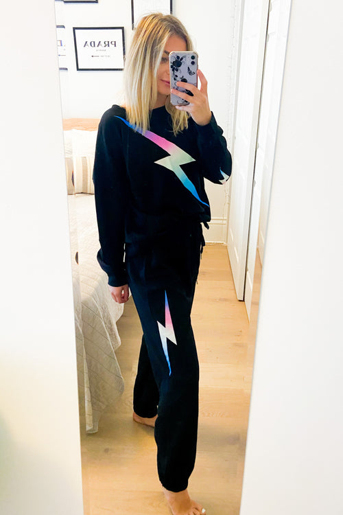 Black French Terry Joggers with Lightning Bolt