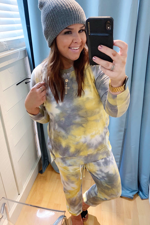 Yellow Tie Dye Long Sleeve Crew And Joggers Set