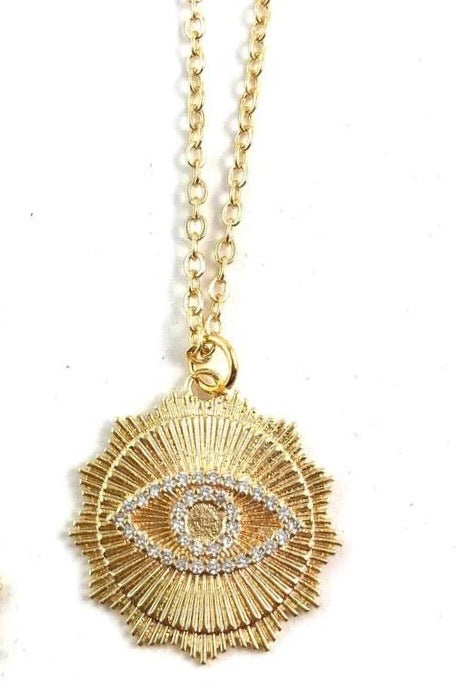 Nikki Smith Bowie Midlength Necklace- Evil Eye