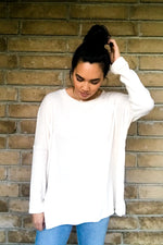 Baby Knit Oversized Top-Ivory Blush