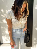 Ivory Floral Cardigan Cropped Top