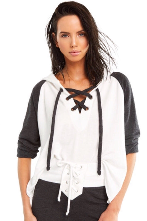Wildfox Contrast Hutton Sweater-Clean White/Clean Black