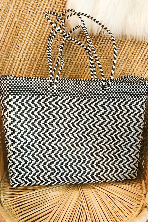 Wahako Large Tote-Black& White ZigZag #17