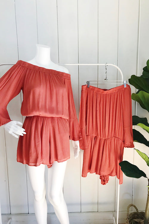 Elan Clay Off Shoulder Bell Sleeves Romper
