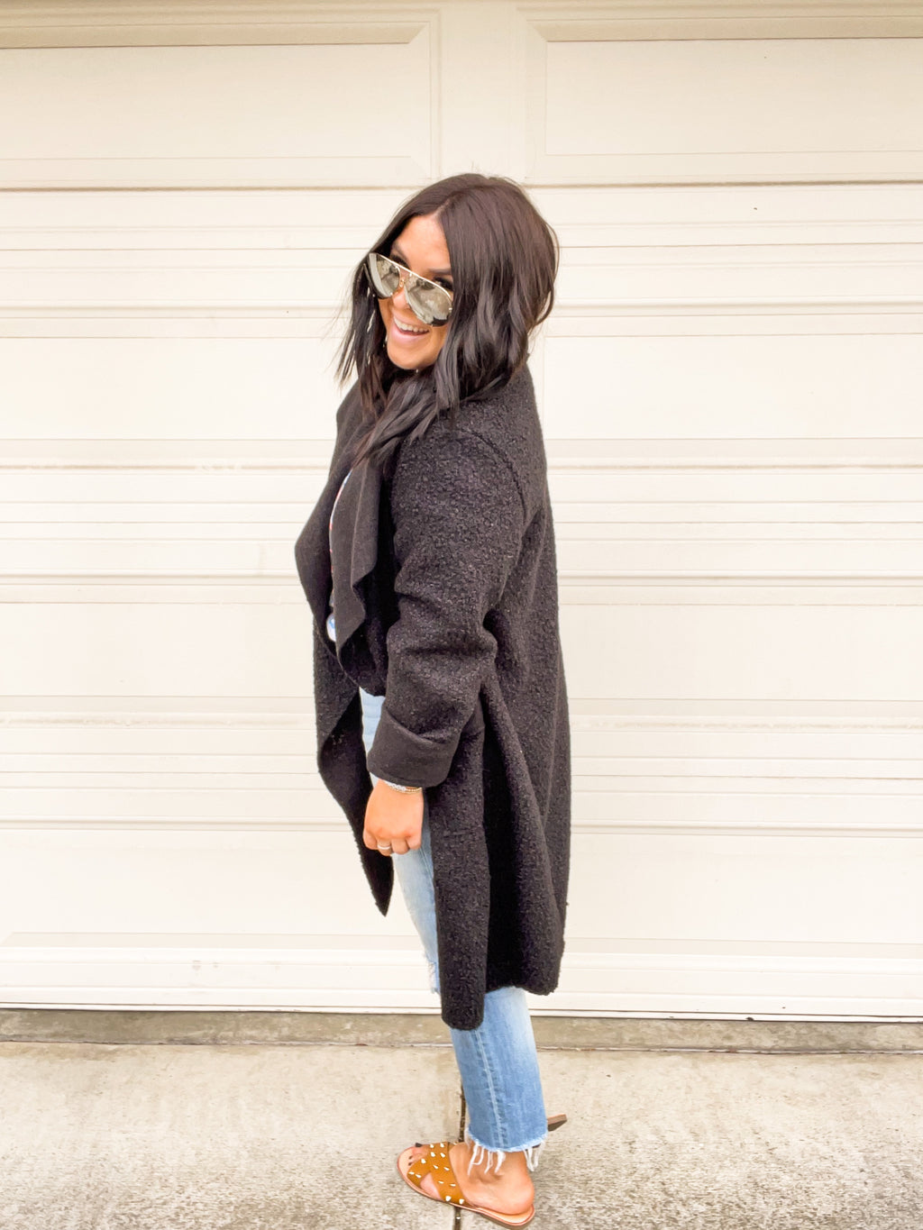 Thick Knit Cardigan/Coat - Black
