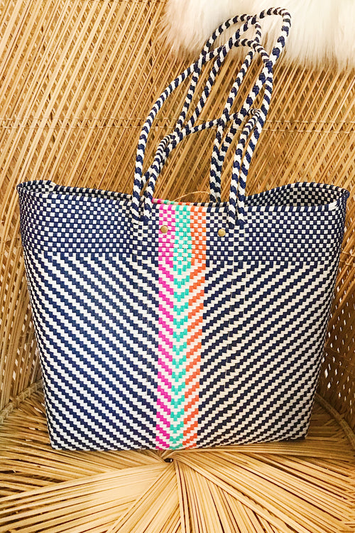 Wahako Medium Tote-Navy Multi #4