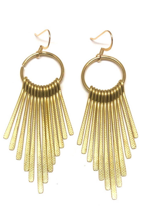 Golden Metal Fringe Earrings - Gold