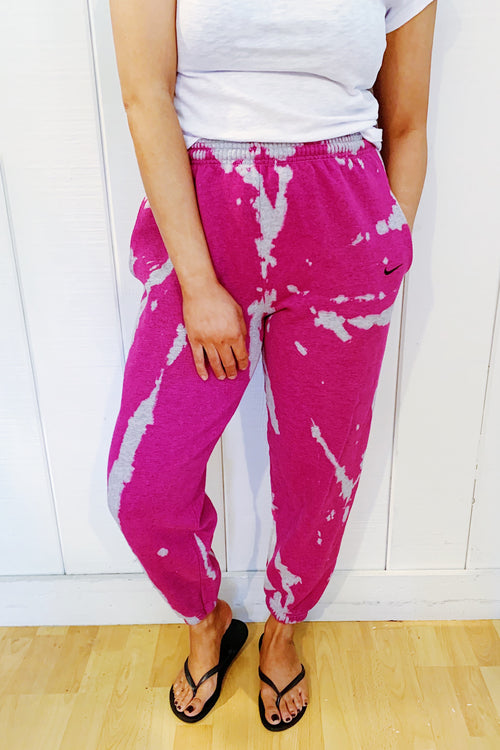 Unisex Upcycled One Of Kind Fuchsia Tie Dye Pants #23