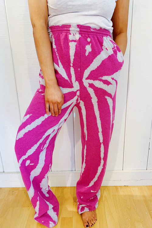 Unisex Upcycled One Of Kind Fuchsia Tie Dye Pants  #25