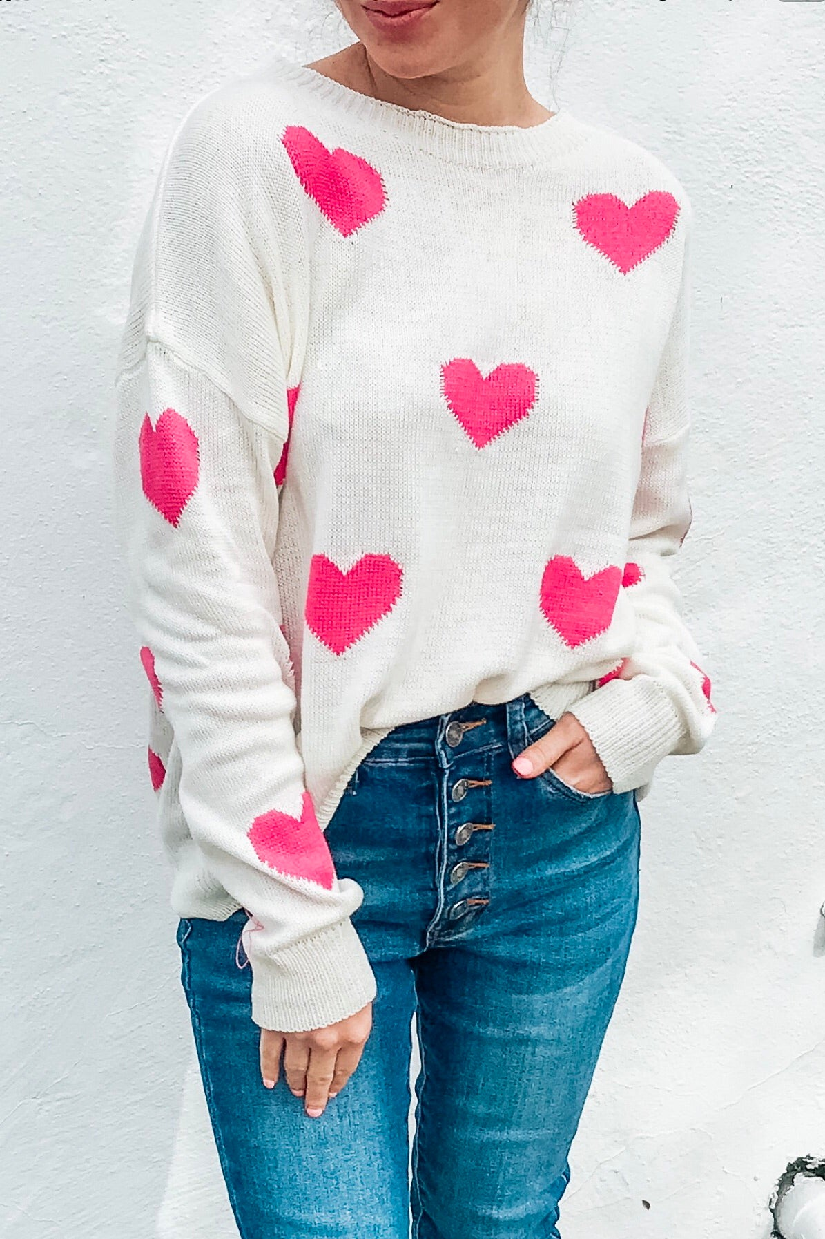 Pink Heart L/S Light Sweater Top - White/Pink
