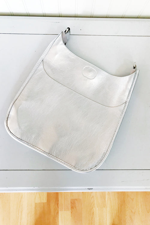 Ahdorned Shiny Faux Leather Messenger Bag - Silver/Silver Tone Hardware