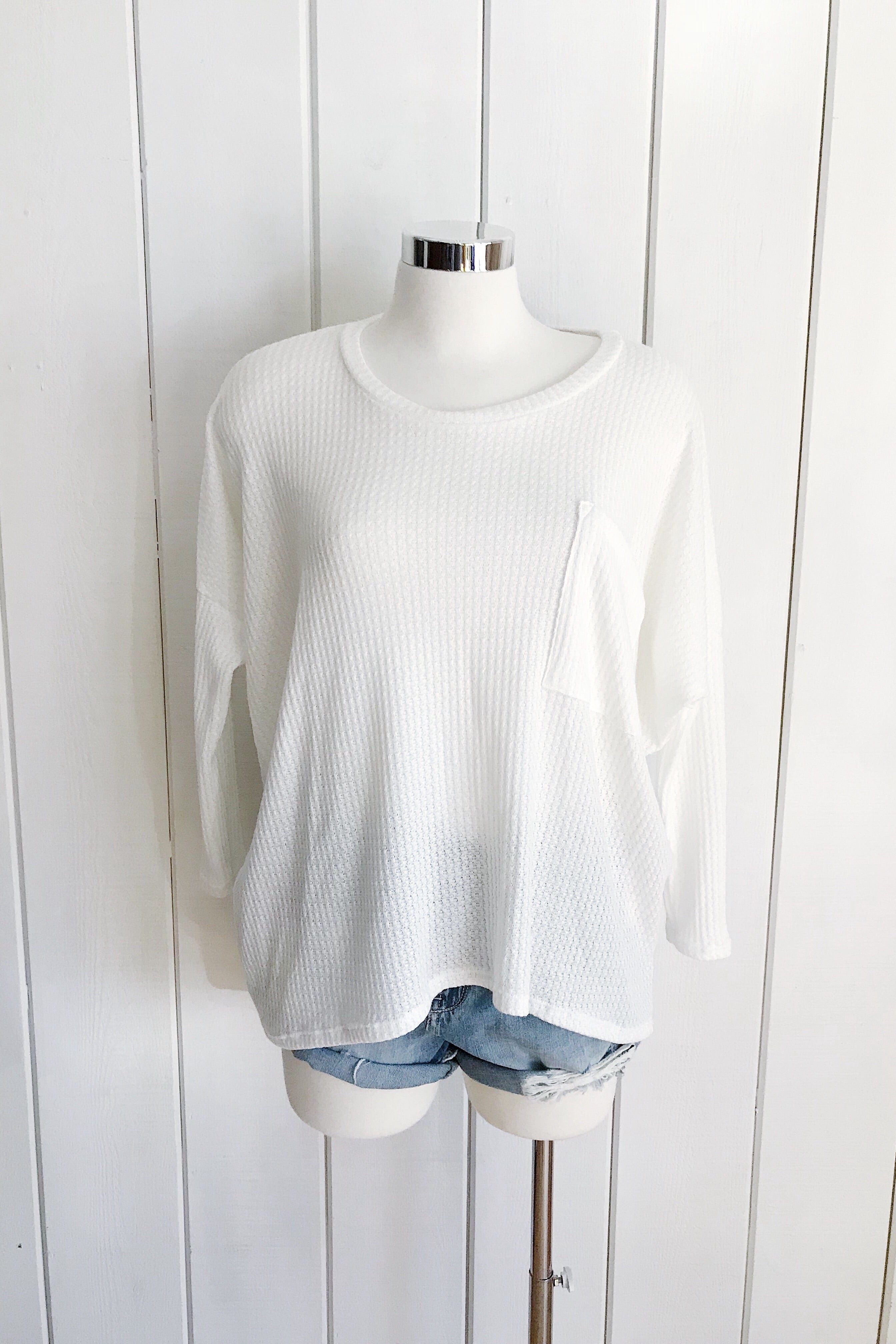 Oversize Knit Pocket Tee Top - Ivory