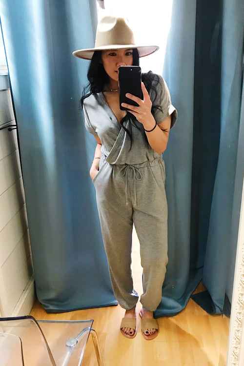 Grey Short Sleeve Knit Jumpsuit