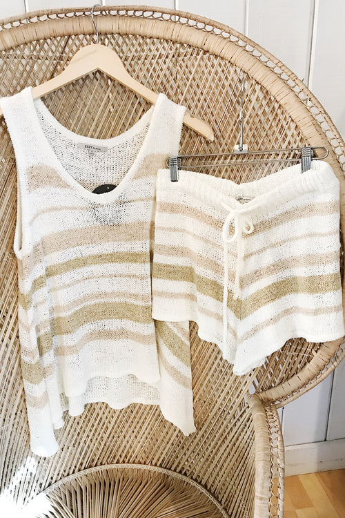 Natural Stripe Knit Tank 2 pc Set