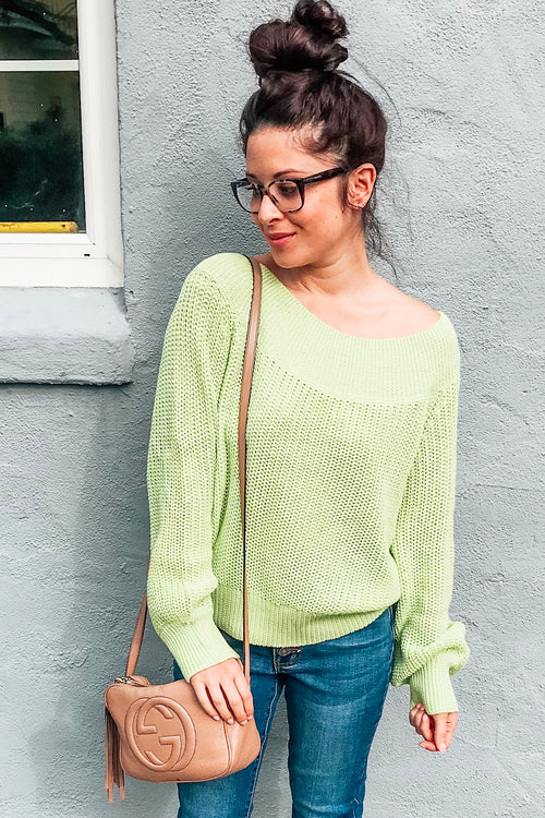 Matcha (neon green) Off Shoulder Ribbed Knit Sweater