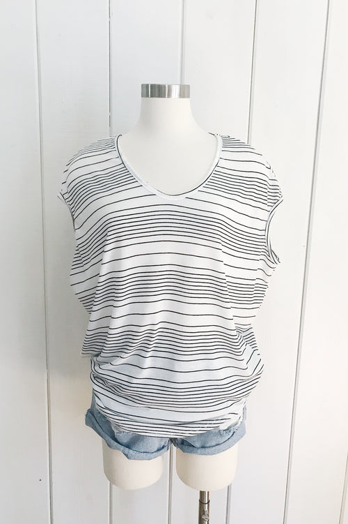 White Stripe S/S V Neck