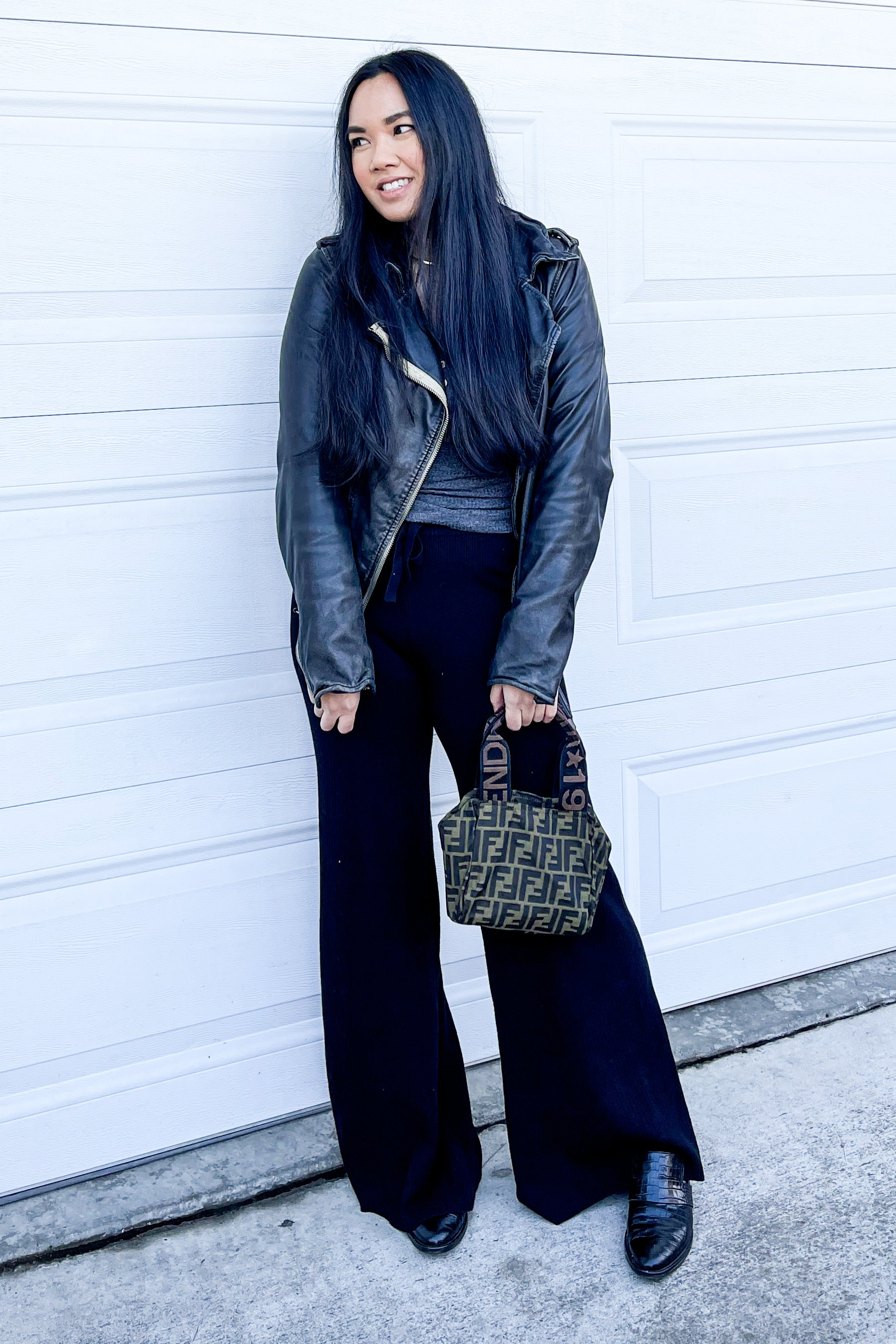 Black Ribbed Knit High-Waist Pants