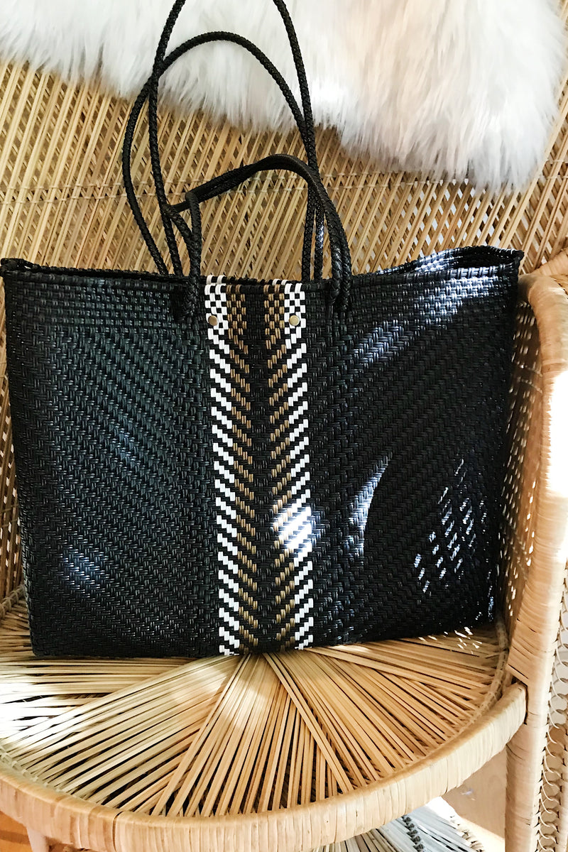 Wahako Large Tote- Black w/ Gold & White Stripe #13