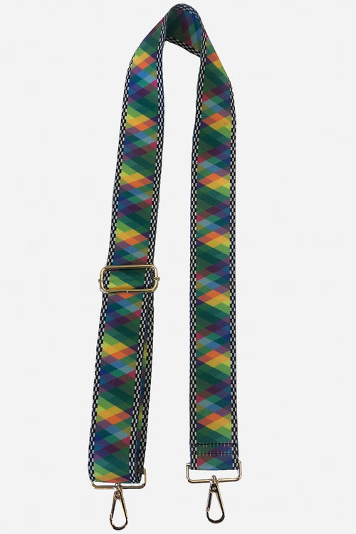 Ahdorned Bright Pattern with Black & White Checks Bag Strap