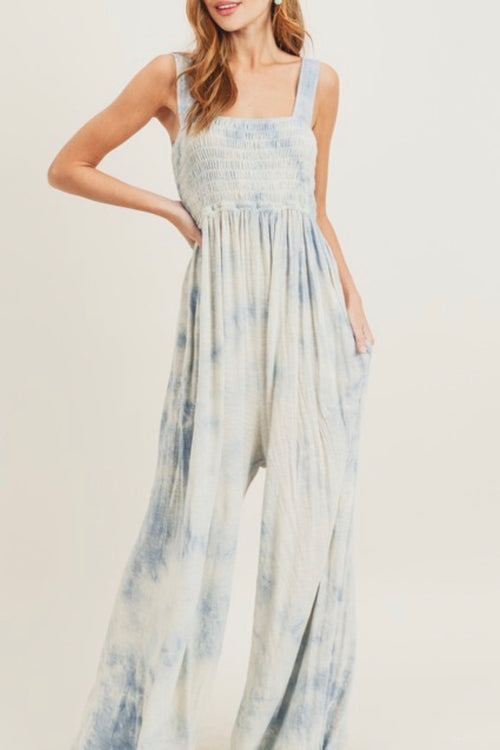 Sky Blue Tie Dye Smocked Jumpsuit