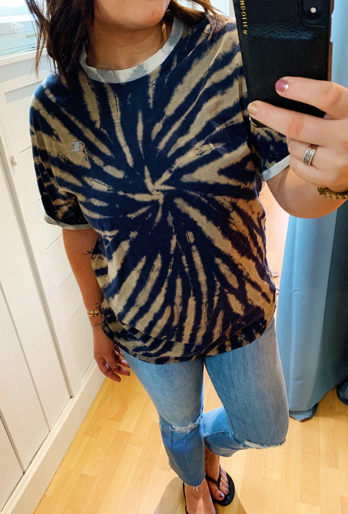 Unisex Upcycled One Of Kind Black/Tan Tie Dye Tee #1