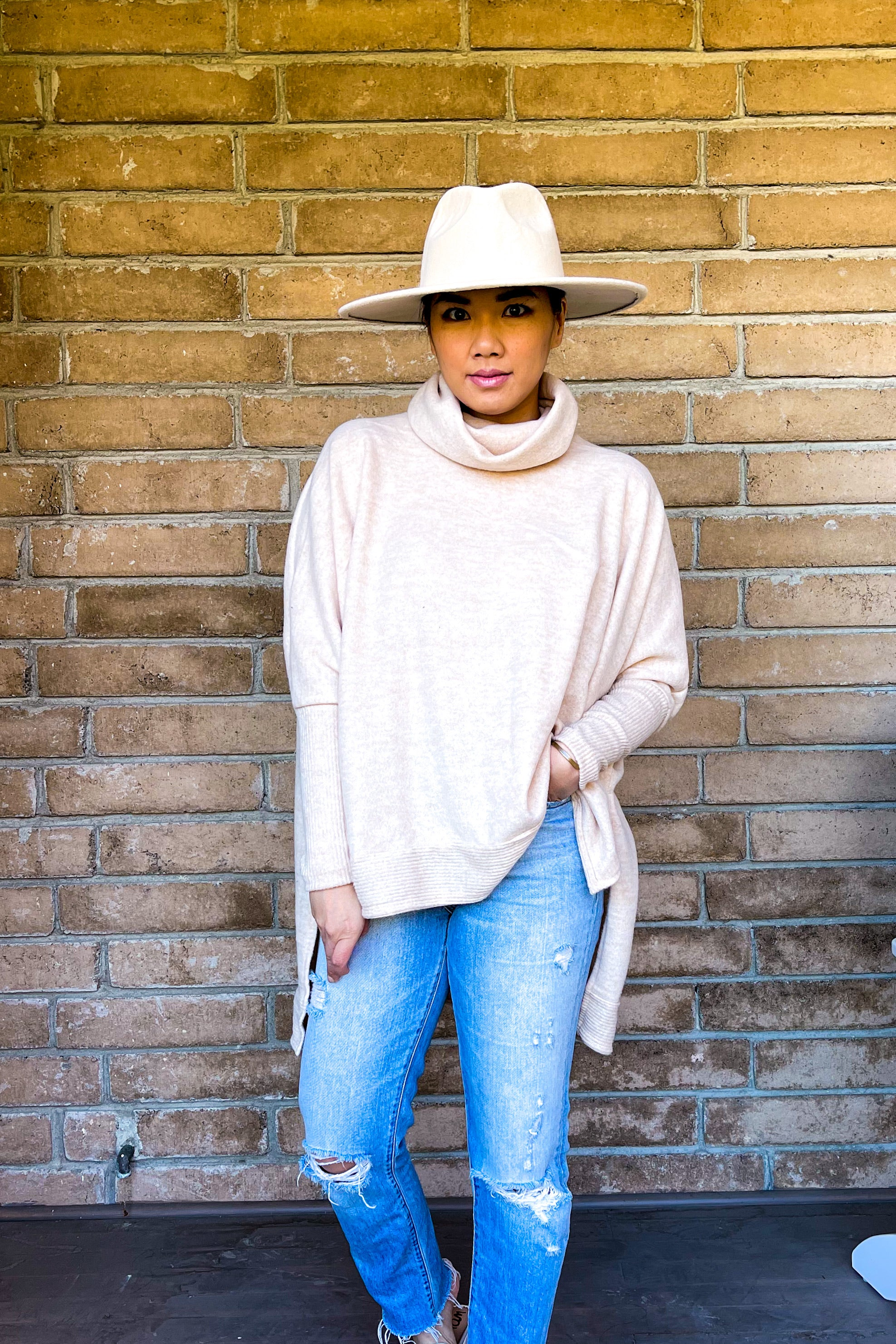 Brushed Cowl Neck High Low Tunic Top - Oatmeal