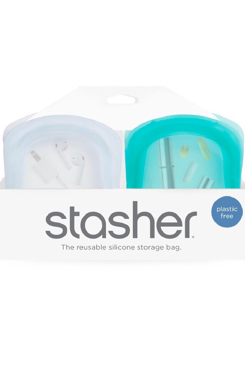 Pocket Stasher, set of 2 (1 clear, 1 aqua)