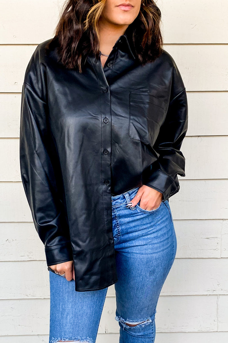 Faux Leather Shacket