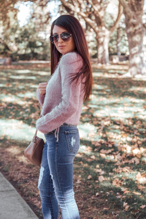 Cotton Candy Fuzzy Sweater with Side Slit & Tie - Pink