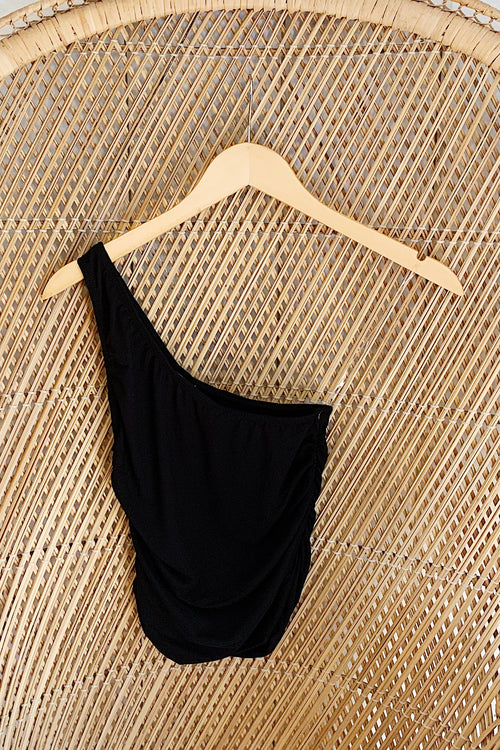 Black One Shoulder with Ruched Side